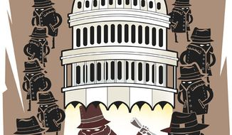 Illustration: Shady deal by Linas Garsys for The Washington Times