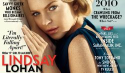 In this magazine cover released by Vanity Fair, actress Lindsay Lohan is shown on the cover of the October 2010 issue. (AP Photo/Norman Jean Roy for Vanity Fair)