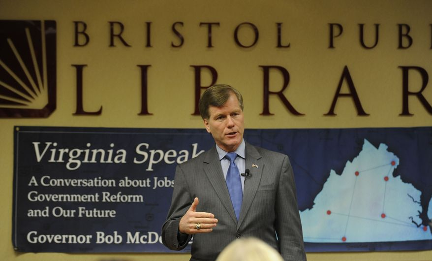 ** FILE ** Virginia Gov. Robert F. McDonnell speaks during a town-hall-style meeting at the Bristol Public Library in Bristol, Va., on Tuesday, Aug. 31, 2010. (AP Photo)