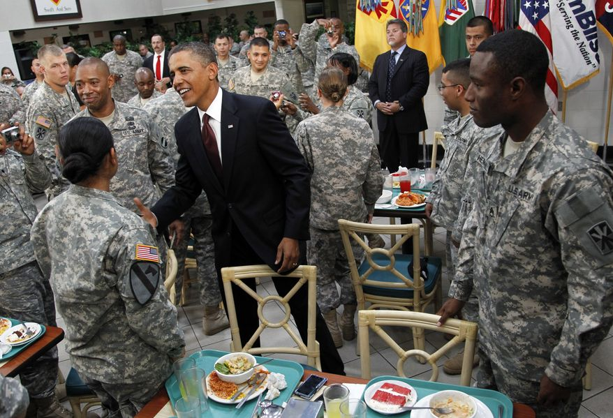 President Obama greets members of the military at Fort Bliss in El Paso, Texas, on Tuesday, Aug. 31, 2010. (AP Photo/Pablo Martinez Monsivais)