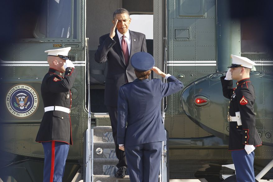 President Obama salutes as he leaves Marine One before boarding Air Force One at Andrews Air Force Base on Tuesday, Aug., 31, 2010, for a trip to Fort Bliss, the sprawling Army base in El Paso, Texas, where he will speaks to the troops. (AP Photo/Pablo Martinez Monsivais)