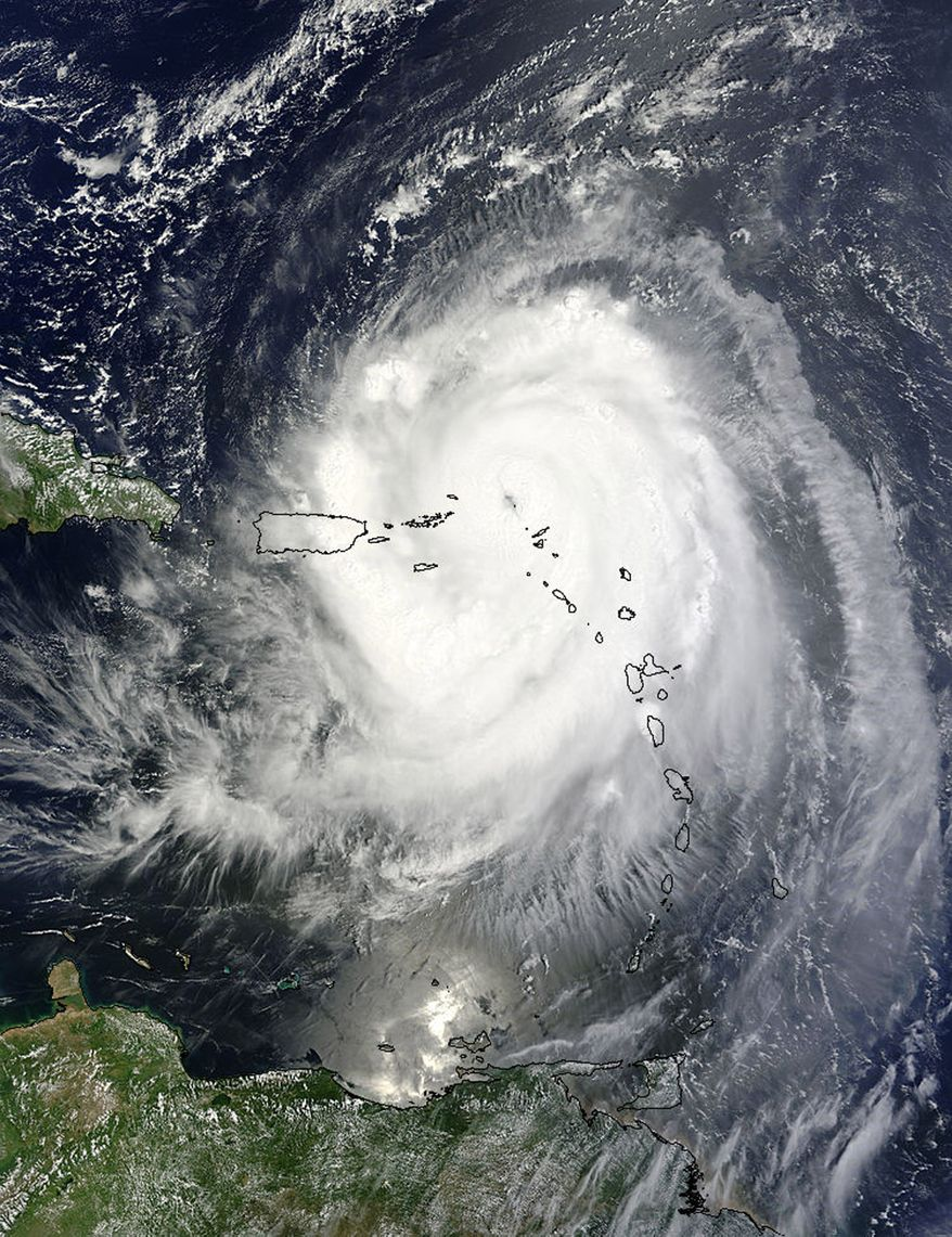 Hurricane Earl passes over the Leeward Islands on Monday, Aug. 30, 2010, in this image from the National Aeronautics and Space Administration. (AP Photo/NASA)