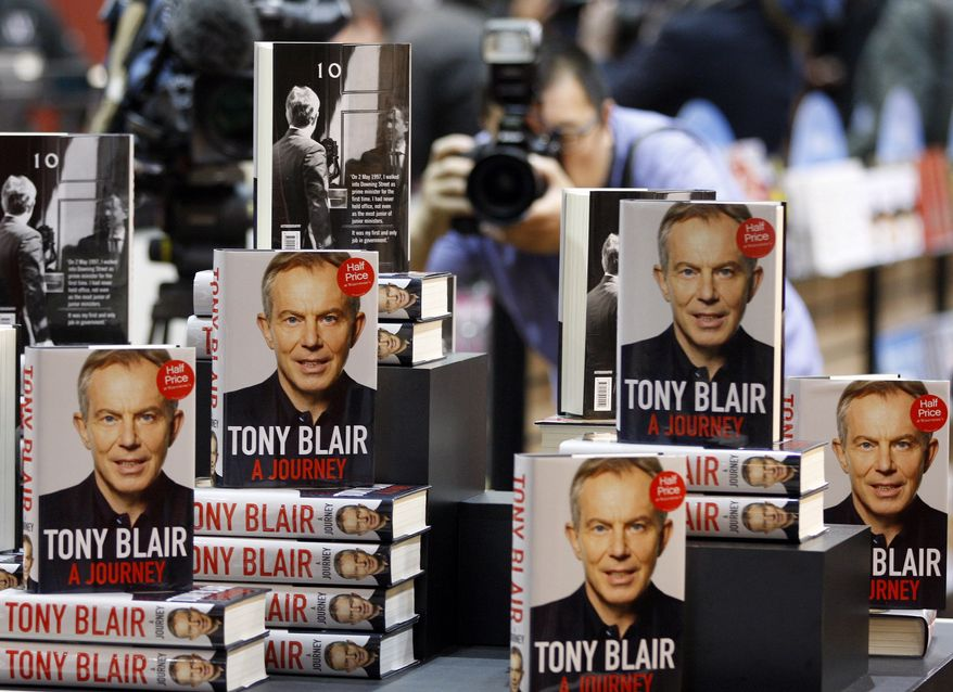 Copies of former British Prime Minister Tony Blair's long-awaited memoirs went on sale in Britain on Wednesday, Sept. 1, 2010. (AP Photo/Kirsty Wigglesworth)