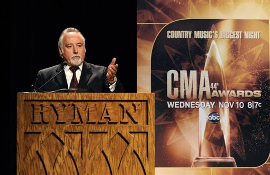 CMA CEO Steve Moore takes the podium during the announcement of performers nominated for the Country Music Association Awards show on Tuesday, Aug. 31, 2010, in Nashville, Tenn. The 44th Annual CMA Awards will be held Nov. 10 in Nashville. (AP Photo/Donn Jones)