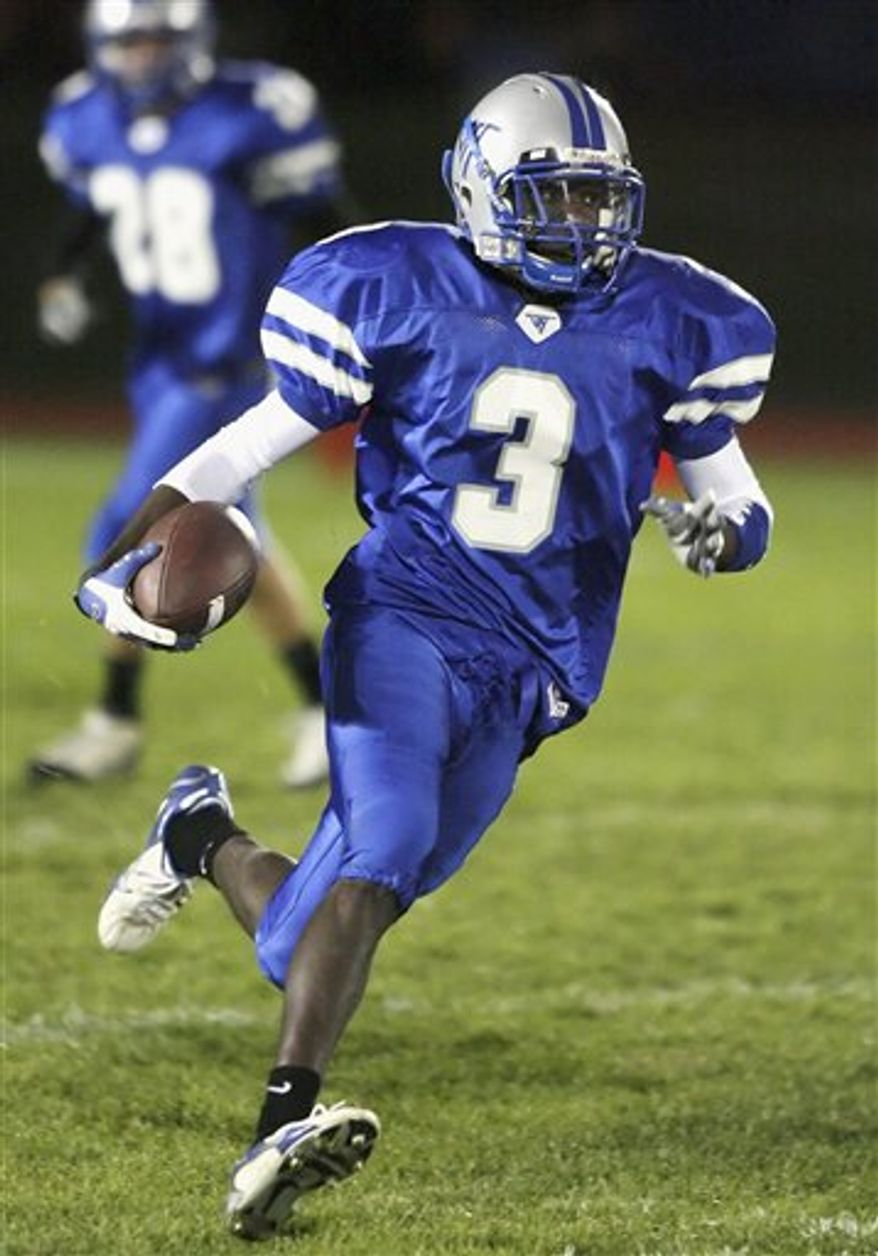 In this photo taken Aug. 11, 2010, Vernon Hills High School wide receiver DaVaris Daniels is seen in Vernon Hills, Ill. (AP Photo/Daily Herald, Steve Lundy)