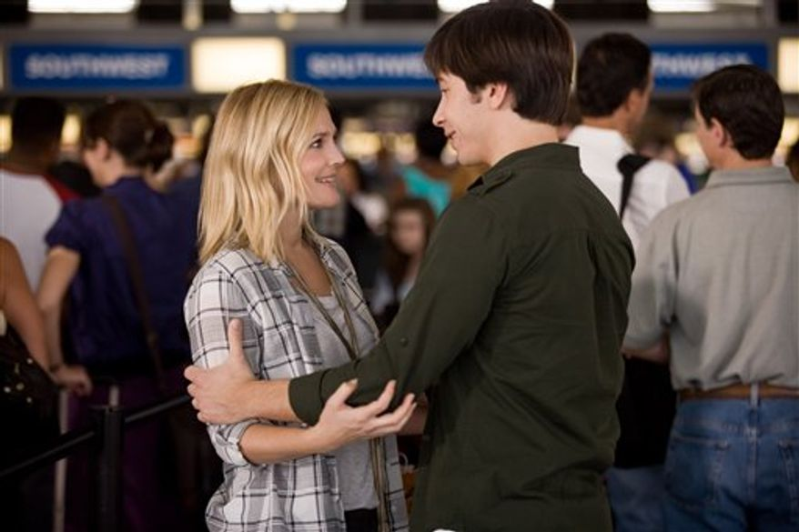 "In this film publicity image released by Warner Bros., Matt Servitto, left, and Drew Barrymore are shown in a scene from ""Going the Distance."" (AP Photo/Warner Bros., Jessica Miglio)"