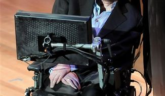 """File - British physicist Stephen Hawking attends the 2010 World Science Festival opening night gala performance at Alice Tully Hall on Wednesday, June 2, 2010 in New York.  Physicist Stephen Hawking says God wasn't necessary for the creation of the universe. In his new book, """"The Grand Design,"""" the British scientist says unraveling a complex series of theories will explain the universe. The book, written with American physicist and author Leonard Mlodinow, will be published Sept. 9 2010. (AP Photo / Evan Agostini)"""