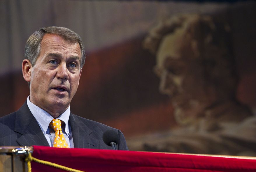 "House Republican leader John Boehner, speaking at the American Legion convention Tuesday, Aug. 31, 2010, in Milwaukee, is not taking Republican popularity in the polls for granted. A spokesman for the Ohio lawmaker said the path to a majority in the House is a ""steep climb."" (AP Photo/Morry Gash)"