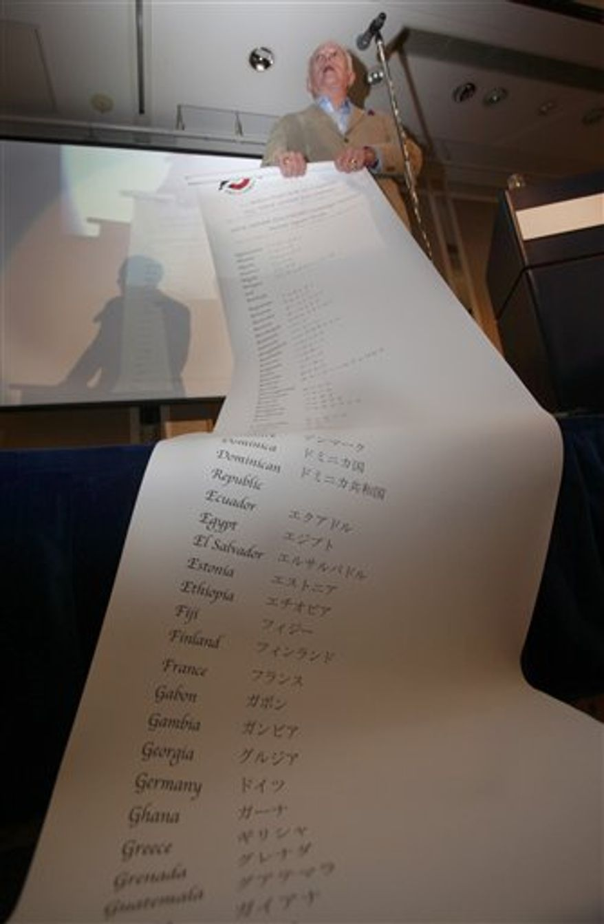 """Ric O'Barry, the former dolphin-trainer for the 1960s """"Flipper"""" TV show, unveils the list of 155 nations demanding the end of the dolphin hunt during a reception for some 100 animal-lovers at a hotel in Tokyo Wednesday, Sept. 1, 2010. The star of """"The Cove,"""" an Oscar-winning documentary about a Japanese village's annual dolphin hunt, is back in Japan to protest against the slaughter but had to cancel his trip to the town of Taiji because of threats from an ultranationalist group. (AP Photo/Shizuo Kambayashi)"""