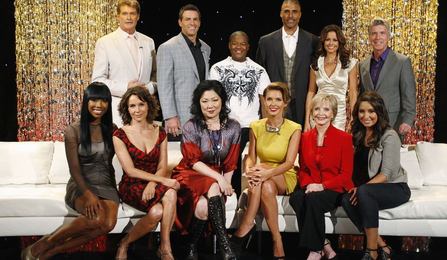"In this photo provided by ABC, the new lineup of stars, from left, Brandy, David Hasselhoff, Jennifer Grey, Kurt Warner, Margaret Cho, Kyle Massey, Audrina Patridge, Rick Fox, Florence Henderson, co-host Brooke Burke, Bristol Palin, and host Tom Bergeron, pose for a photo in Hollywood, Calif., Monday, Aug. 31, 2010. The two-hour season premiere of ""Dancing with the Stars,"" airs Monday, Sept. 20, at 8 p.m. ET on the ABC Television Network. (AP Photo/ABC, Craig Sjodin)"