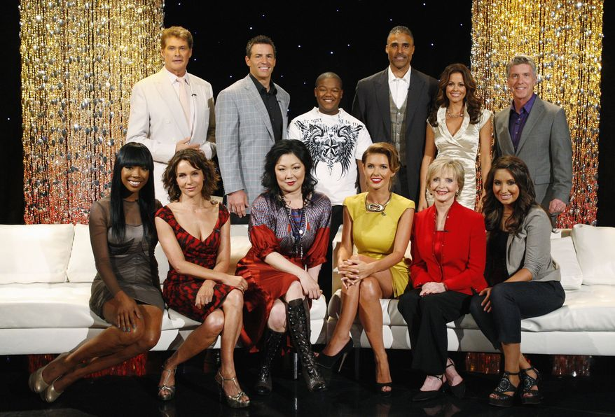"""In this photo provided by ABC, the new lineup of stars, from left, Brandy, David Hasselhoff, Jennifer Grey, Kurt Warner, Margaret Cho, Kyle Massey, Audrina Patridge, Rick Fox, Florence Henderson, co-host Brooke Burke, Bristol Palin, and host Tom Bergeron, pose for a photo in Hollywood, Calif., Monday, Aug. 31, 2010. The two-hour season premiere of """"Dancing with the Stars,"""" airs Monday, Sept. 20, at 8 p.m. ET on the ABC Television Network. (AP Photo/ABC, Craig Sjodin)"""