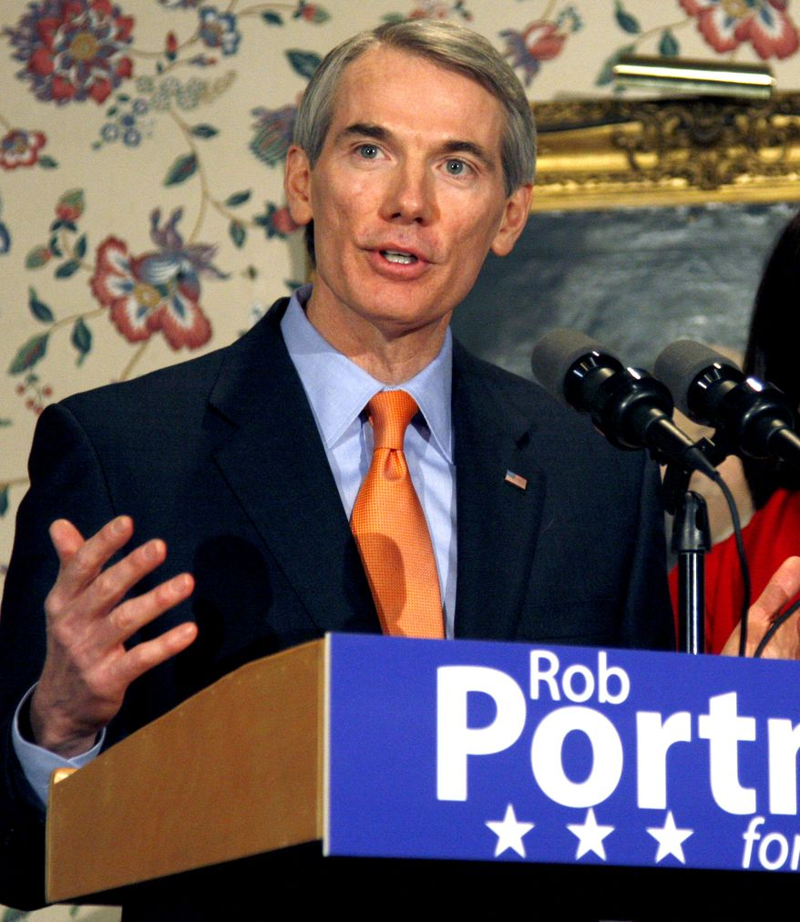 This Jan. 14, 2009, file photo shows Republican Senate nominee Rob Portman speaks Lebanon, Ohio. Frustrated, discouraged and just plain mad, a lot people who have lost jobs -- or know someone who has -- now want to see the names of Democrats on pink slips. And that's jeopardizing the party's chances here in Ohio and all across the country in November's elections. (AP Photo/David Kohl, File)