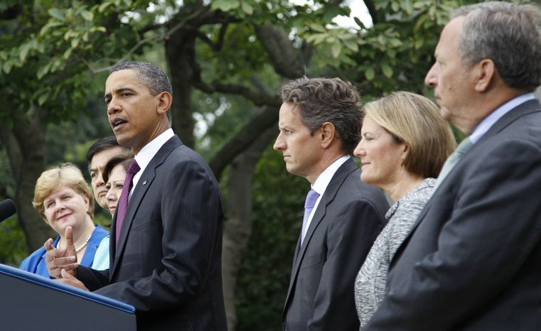 President Barack Obama, center, delivers a statement on the monthly jobs number on Friday, Sept. 3, 2010, in the Rose Garden of the White House in Washington. From left are, outgoing Council of Economic Advisers Chair Christina Romer, Commerce Secretary Gary Locke, Labor Secretary Hilda Solis, the president, Treasury Secretary Timothy Geithner, Small Business Administrator (SBA) Karen G. Mills and National Economic Council Director Lawrence Summers. (AP Photo/Pablo Martinez Monsivais)
