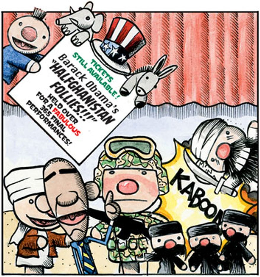 Illustration: Halfghanistan follies by Alexander Hunter for The Washington Times