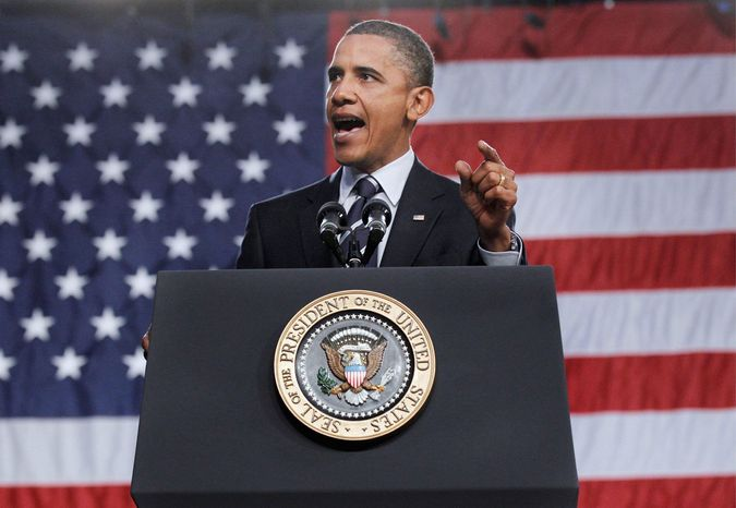 Associated Press GLOVES OFF: President Obama speaks on the economy Wednesday at a community college in Ohio. With elections looming, Mr. Obama ratcheted up the partisan rhetoric against his GOP critics.