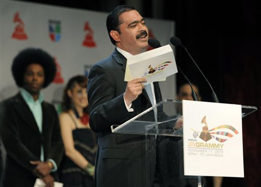 Mexican band leader Mario Quintero Lara announces nominations for the 11th Annual Latin Grammy Awards in Los Angeles, Wednesday, Sept. 8, 2010. The show will be held on Nov. 11 in Las Vegas. (AP Photo/Chris Pizzello)