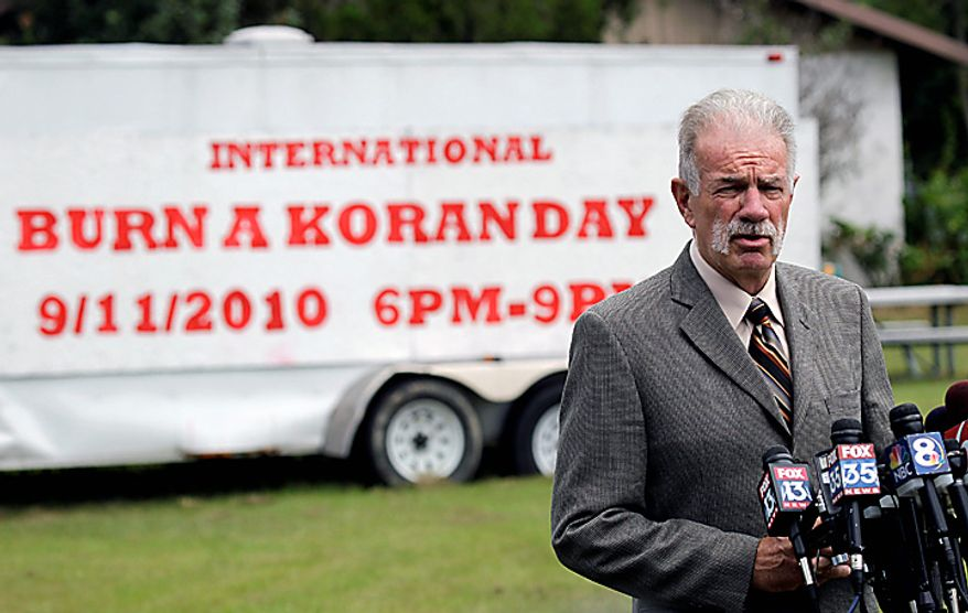 Pastor Terry Jones of the Dove World Outreach Center speaks at a news conference in Gainesville, Fla., Wednesday, Sept. 8, 2010. Jones said that he is going forward with a plan to burn copies of the Quran at his church on Saturday, Sept. 11. (AP Photo/John Raoux)
