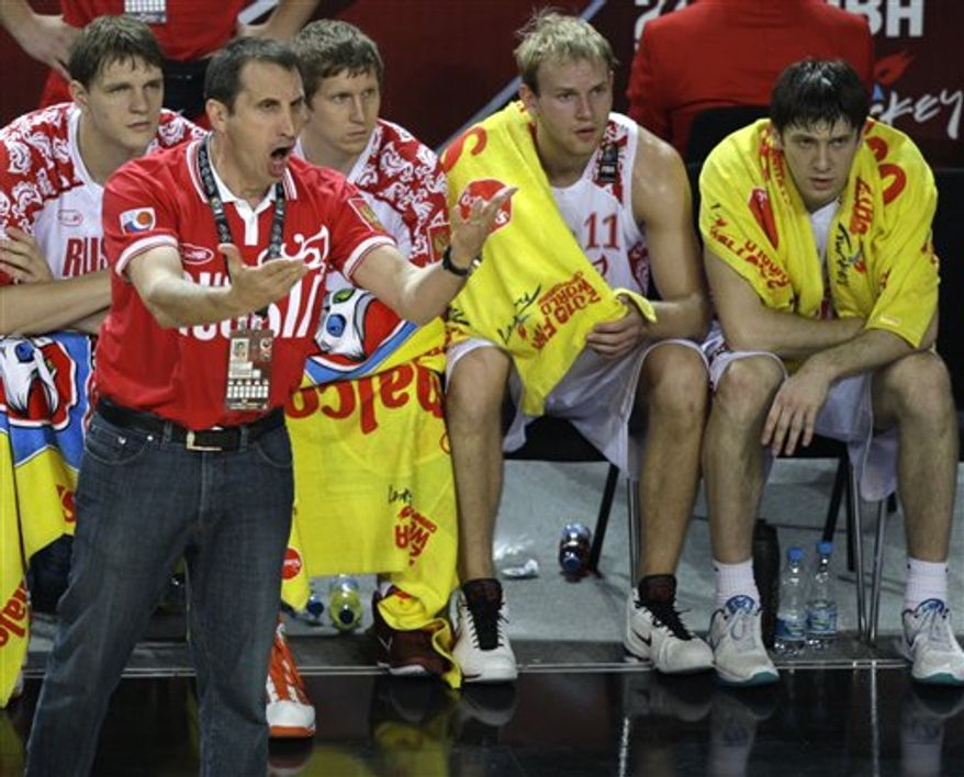 Russia's head coach David Blatt gestures to his players during their World Basketball Championship round of 16 match against New Zealand in Istanbul, Turkey, Monday, Sept. 6, 2010. (AP Photo/Ibrahim Usta)