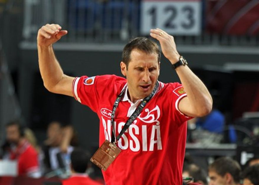 Coach of Russia David Blatt from the U.S.A. reacts during a World Basketball Championship round of 16 match against New Zealand at the Sinan Erdem stadium in Istanbul, Monday, Sept. 6, 2010. (AP Photo/Thanassis Stavrakis)