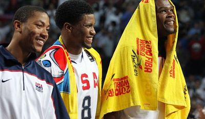 U.S. players smile after a World Basketball Championship round of 16 match against Angola at the Sinan Erdem stadium in Istanbul, Monday, Sept. 6, 2010. The U.S.A. won 121-66 and will play in the quarter finals. (AP Photo/Thanassis Stavrakis)