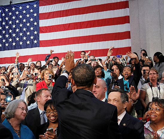 President Barack Obama waves to the crowd after delivering remarks on the economy,Wednesday, Sept. 8, 2010, at Cuyahoga Community College West Campus in Parma, Ohio. (AP Photo/Pablo Martinez Monsivais)