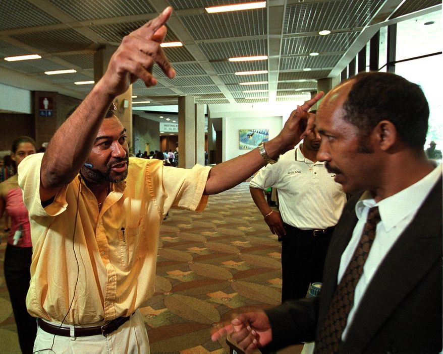 The Washington Times One-time drug kingpin Cornell Jones, seen here in July 2001, supports one of the two leading candidates for D.C. mayor - but depending on when he was asked, it's not clear which one.