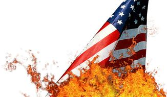 Illustration: Flag burning by Greg Groesch for The Washington Times