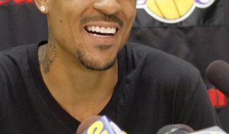 FILE - Newly signed Los Angels Laker Matt Barnes speaks to media during an introductory press conference in El Segundo, Calif. in this July 27, 2010 file photo. Sacramento County authorities say Barnes was arrested Wednesday Sept. 8, 2010 on suspicion of domestic violence. Barnes was booked into the Sacramento County Jail on suspicion of domestic violence and maliciously obstructing the use of a telephone line. He posted a $50,000 bond and was released. (AP Photo/Nick Ut, File)