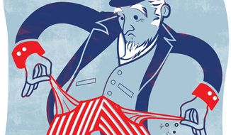 Illustration: Uncle Sam's broke by Linas Garsys for The Washington Times