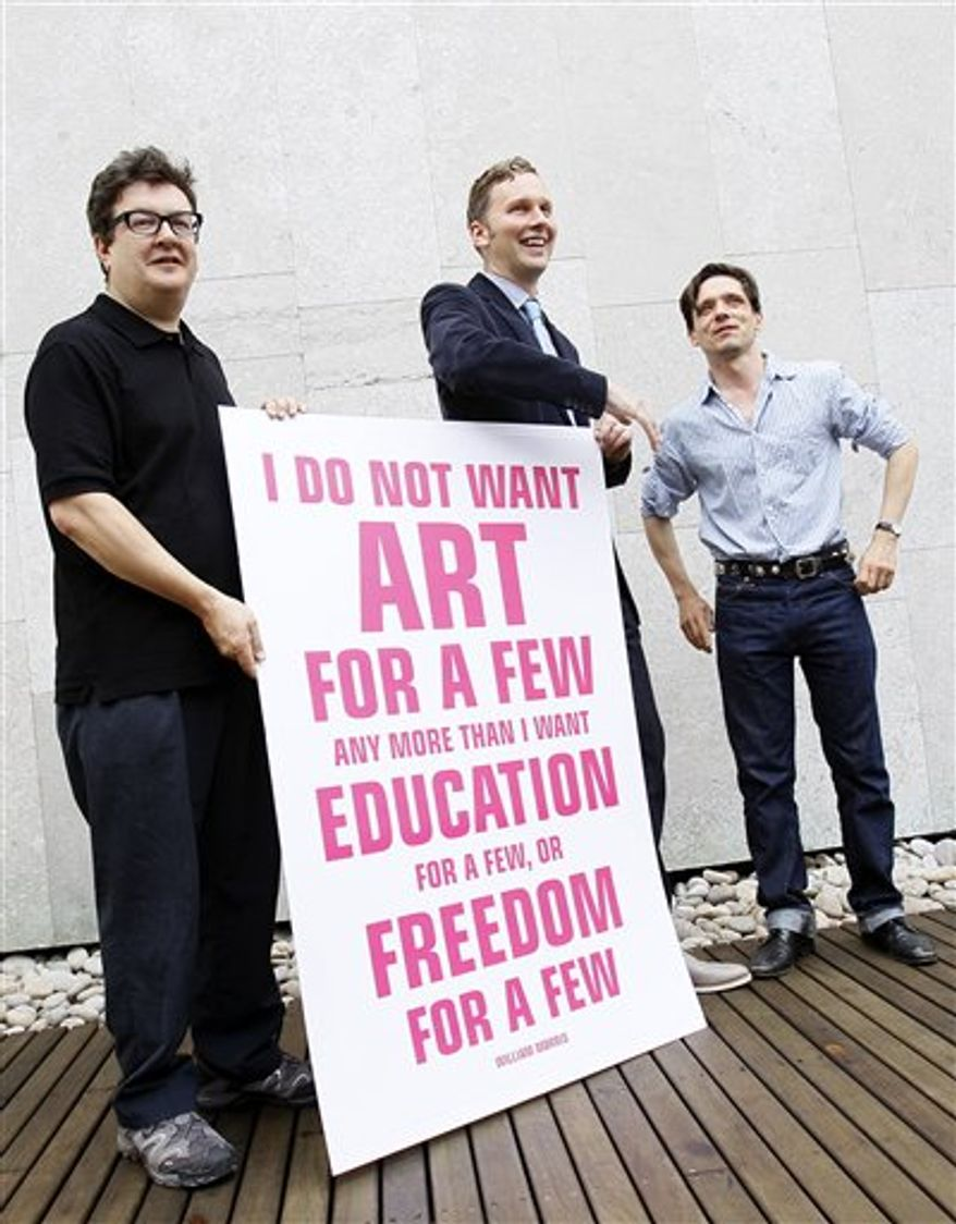 British artist Jeremy Deller, poses for the media as they launch a campaign to lobby against the Governments proposed 25 per cent cuts in arts funding, in London Friday, Sept. 10. 2010. (AP Photo/Alastair Grant)