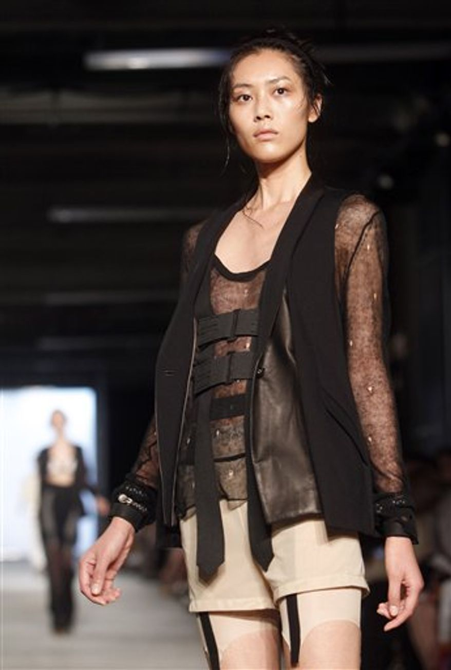 The Rag and Bone spring 2011 collection is modeled Friday, Sept. 10, 2010, during Fashion Week in New York. (AP Photo/Jason DeCrow)