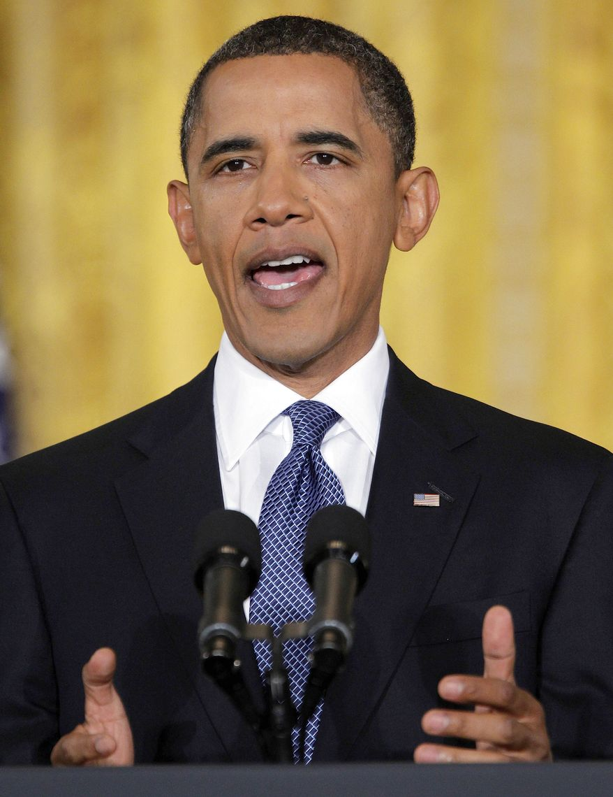 President Obama makes opening remarks during a press conference in the East Room of the White House in Washington, Friday, Sept. 10, 2010. (AP Photo/Pablo Martinez Monsivias)