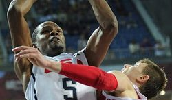 USA's Kevin Durant celebrates after scoring a basket against Russia during the quarterfinal round at the World Basketball Championship, Thursday, Sept. 9, 2010, in Istanbul, Turkey.  (AP Photo/Mark J. Terrill)