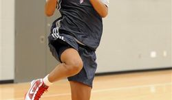 Atlanta Dream forward Angel McCoughtry drives to the basket during on Friday, Sept. 10, 2010, in Atlanta. The Dream face the Seattle Storm in Game 1 of the WNBA Finals on Sept. 12 in Seattle.  (AP Photo/Erik S. Lesser)