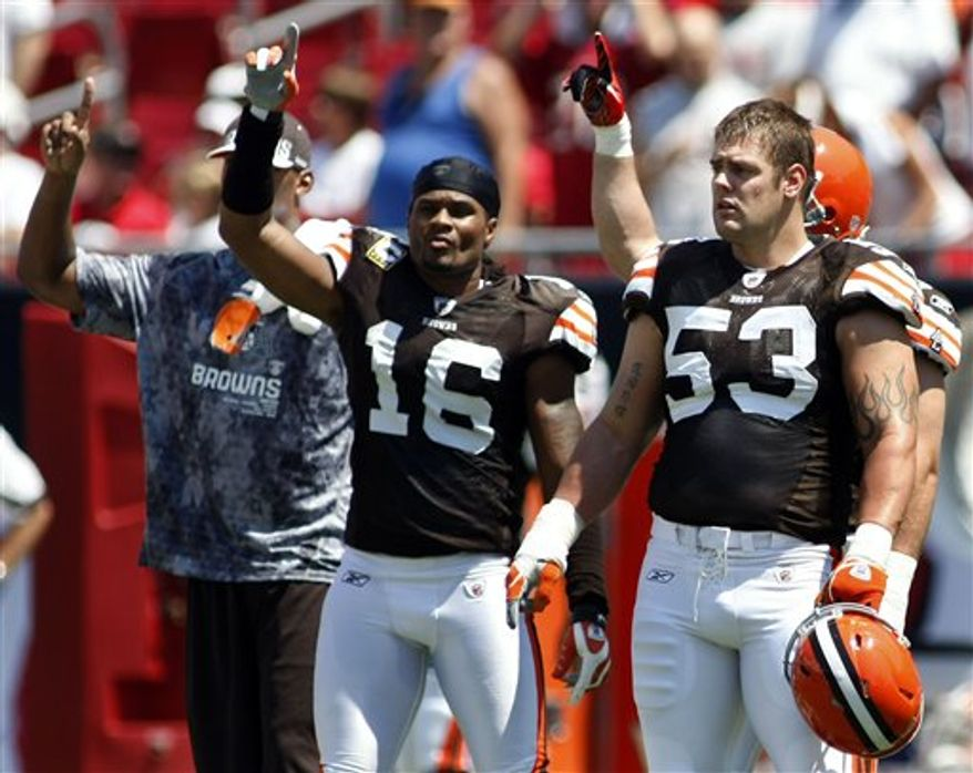 Cleveland Browns players, including Josh Cribbs (16) and Matt Roth (53) walk onto the field as a show of solidarity for the players union before an NFL football game against the Tampa Bay Buccaneers Sunday, Sept. 12, 2010, in Tampa, Fla. (AP Photo/Brian Blanco)