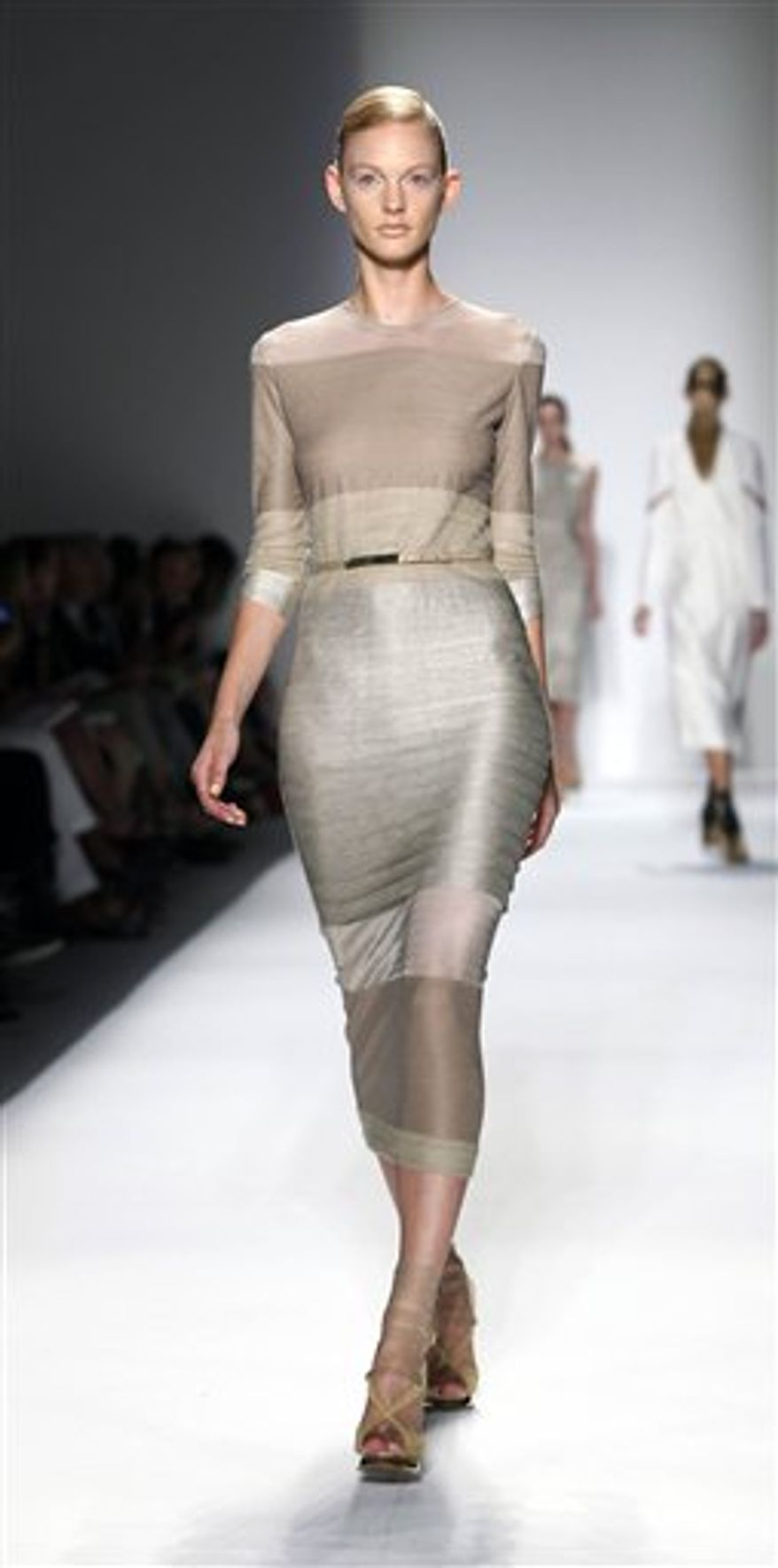 The Prabal Gurung spring 2011 collection is modeled, Saturday, Sept. 11, 2010, during Fashion Week in New York, . (AP Photo/Stuart Ramson)