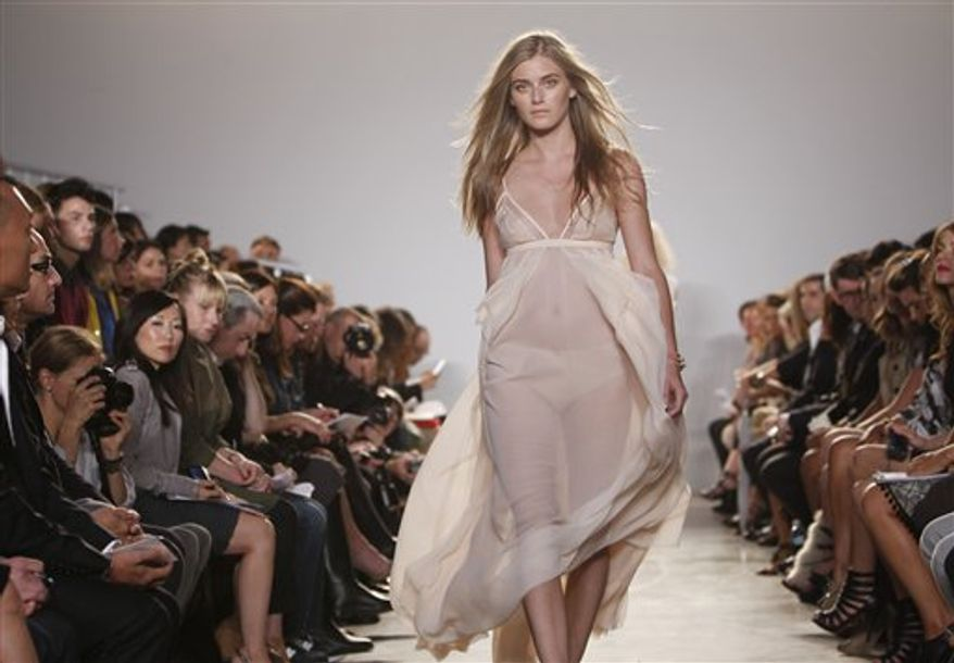 The Thakoon spring 2011 collection is modeled Sunday, Sept. 12, 2010, during Fashion Week in New York. (AP Photo/Jason DeCrow)
