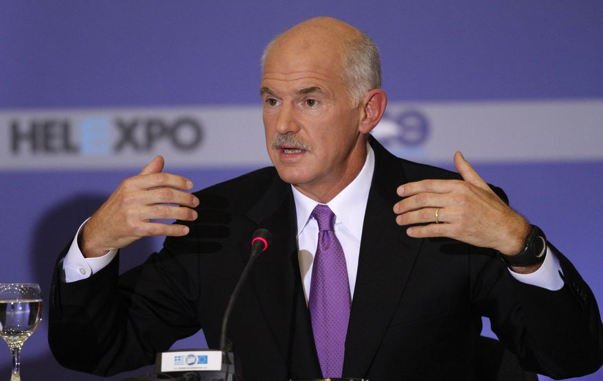 Greek Prime Minister George Papandreou addresses the media during a news conference on Sunday, Sept. 12, 2010, a day after his keynote speech on the economy in Thessaloniki, Greece. The prime minister said the Greek government is planning no new austerity measures as part of its efforts to pull the country out of debt. (AP Photo/Dimitri Messinis)