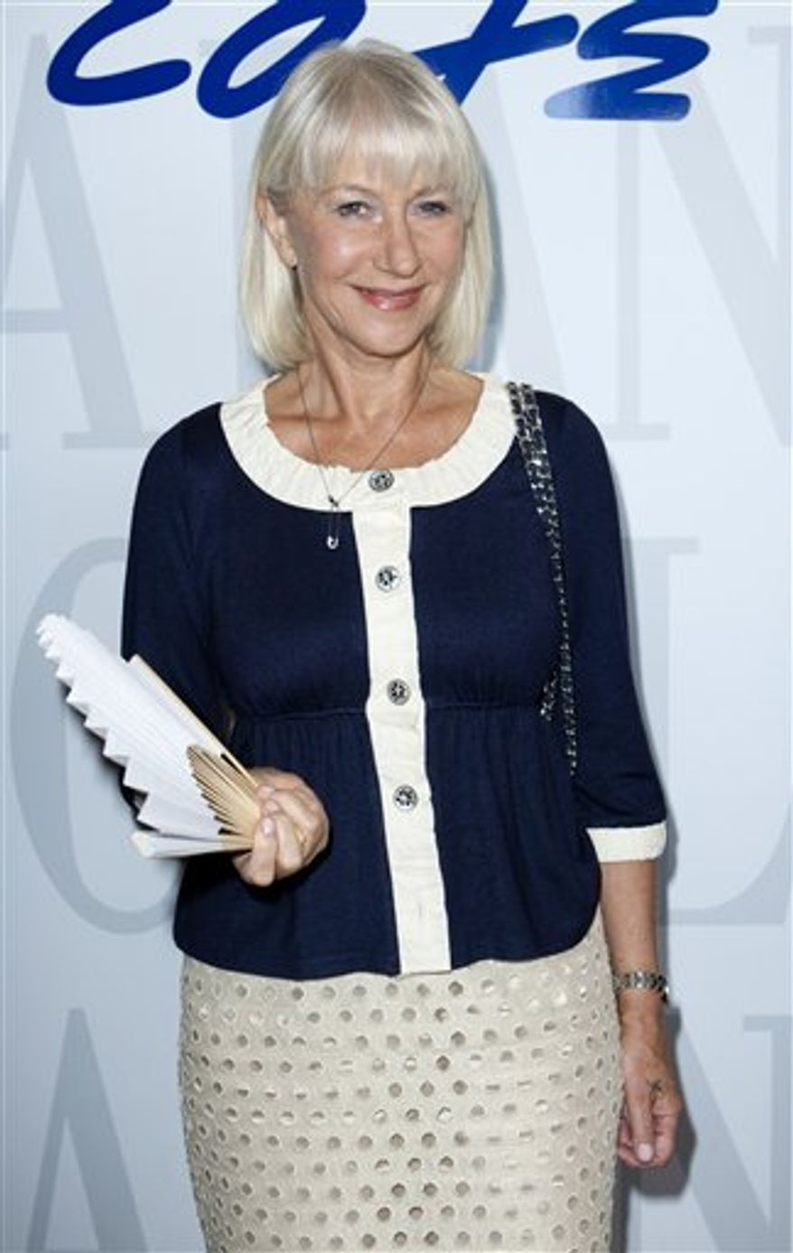 Actress Helen Mirren at the 67th edition of the Venice Film Festival in Venice, Italy, Saturday, Sept. 11, 2010. (AP Photo/Joel Ryan)