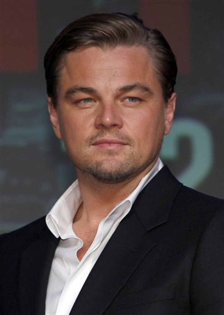 "FILE - In this July 21, 2010 file photo, actor Leonardo DiCaprio poses for photographers during a news conference for  ""Inception"" in Tokyo, Japan. (AP Photo/Shizuo Kambayashi, file)"