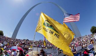 """Tea partyers gather on the steps of the Gateway Arch in St. Louis in September 2010 for the """"Gateway to November"""" rally hosted by the St. Louis Tea Party and Tea Party Patriots. (Associated Press)"""
