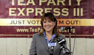 Delaware Republican Senate candidate Christine O'Donnell addresses supporters during a Tea Party Express news conference in support of her election bid in Wilmington, Del., on Tuesday, Sept. 7, 2010. (AP Photo/Rob Carr)