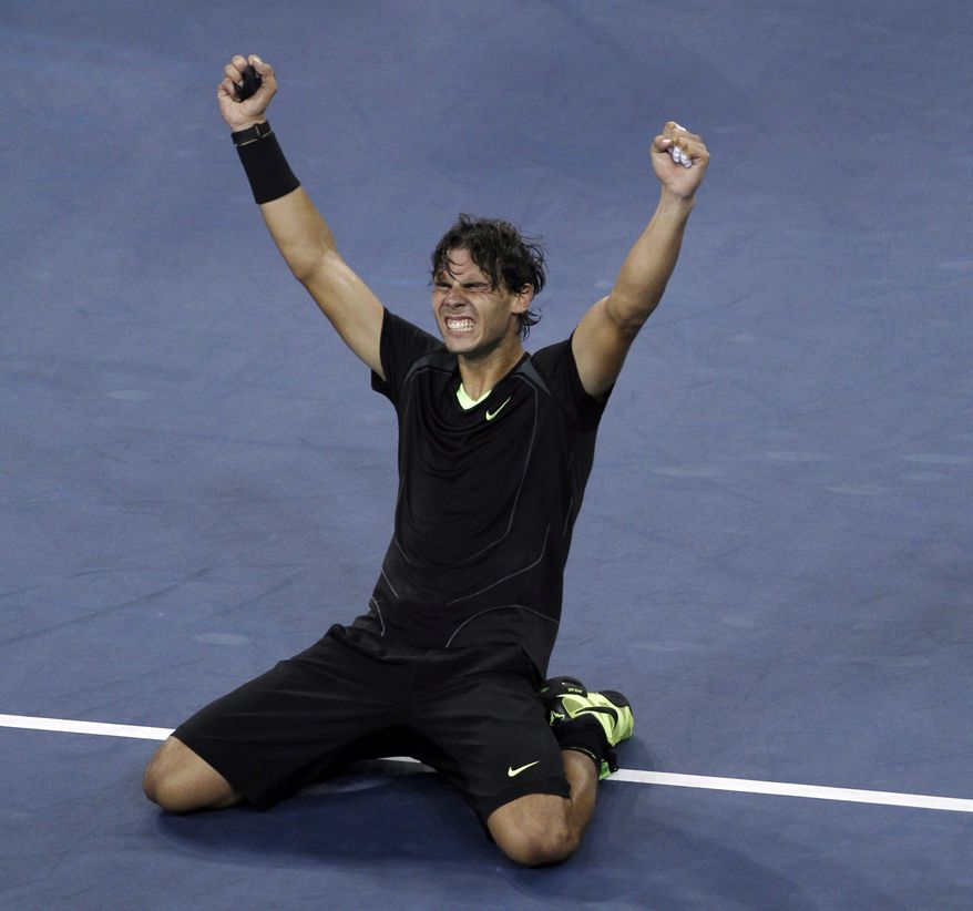 ASSOCIATED PRESS Rafael Nadal, of Spain, reacts after defeating Novak Djokovic, of Serbia, to win the men's championship match at the U.S. Open tennis tournament in New York, Monday, Sept. 13, 2010.