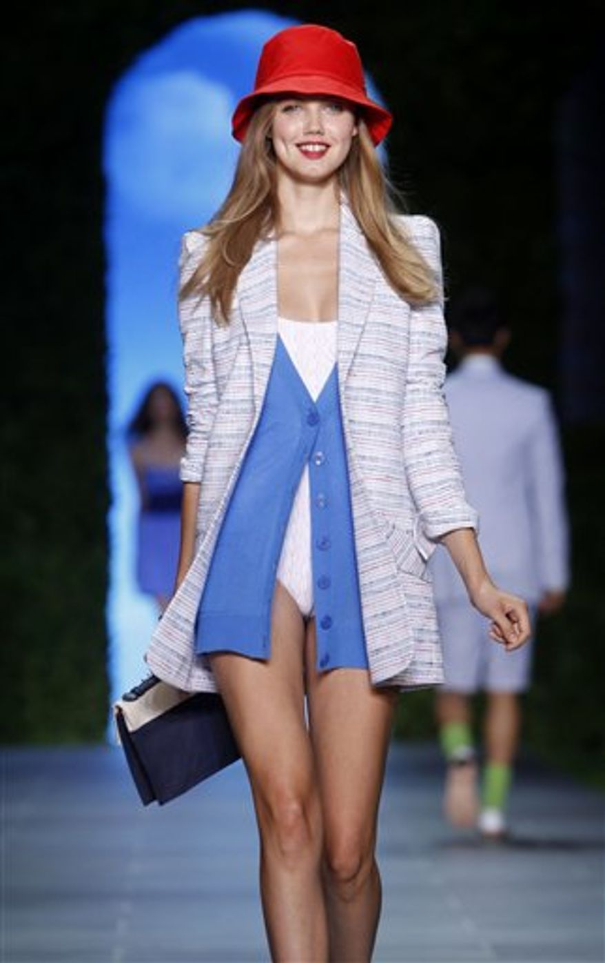 The Tommy Hilfiger spring 2011 collection is modeled during Fashion Week in New York, Sunday, Sept. 12, 2010.  (AP Photo/Seth Wenig)