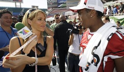 "FILE - This Jan. 27, 2009,  file photo shows TV Azteca reporter Ines Sainz, left,  after measuring the bicep of Arizona Cardinals wide receiver Steve Breaston, right,  during the team's media day for Super Bowl XLIII, in Tampa, Fla. Sainz says on her Twitter account she felt ""very uncomfortable!"" at a Jets practice Saturday where a coach appeared to throw footballs in her direction and players called out to her in the locker room. (AP Photo/Ross D. Franklin, File)"