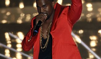 Kanye performs at the MTV Video Music Awards on Sunday in Los Angeles. (Associated Press)