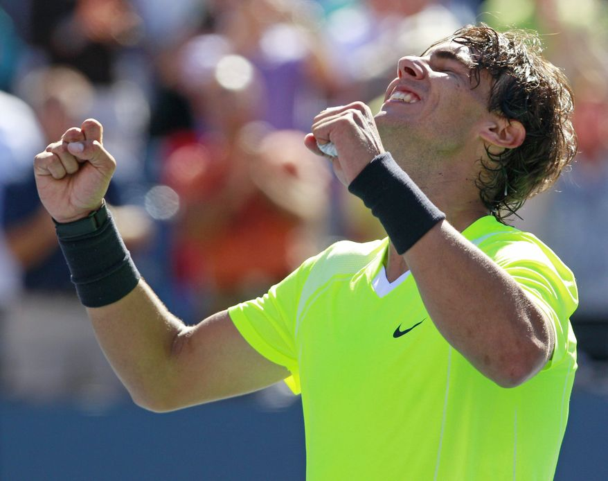 **FILE** Rafael Nadal reacts after defeating Mikhail Youzhny in three sets during a men's semifinal match at the U.S. Open tennis tournament in New York on Sept. 11, 2010. (Associated Press)