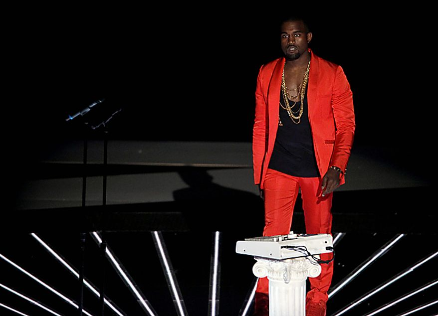 Kanye performs at the MTV Video Music Awards on Sunday, Sept. 12, 2010 in Los Angeles. (AP Photo/Matt Sayles)