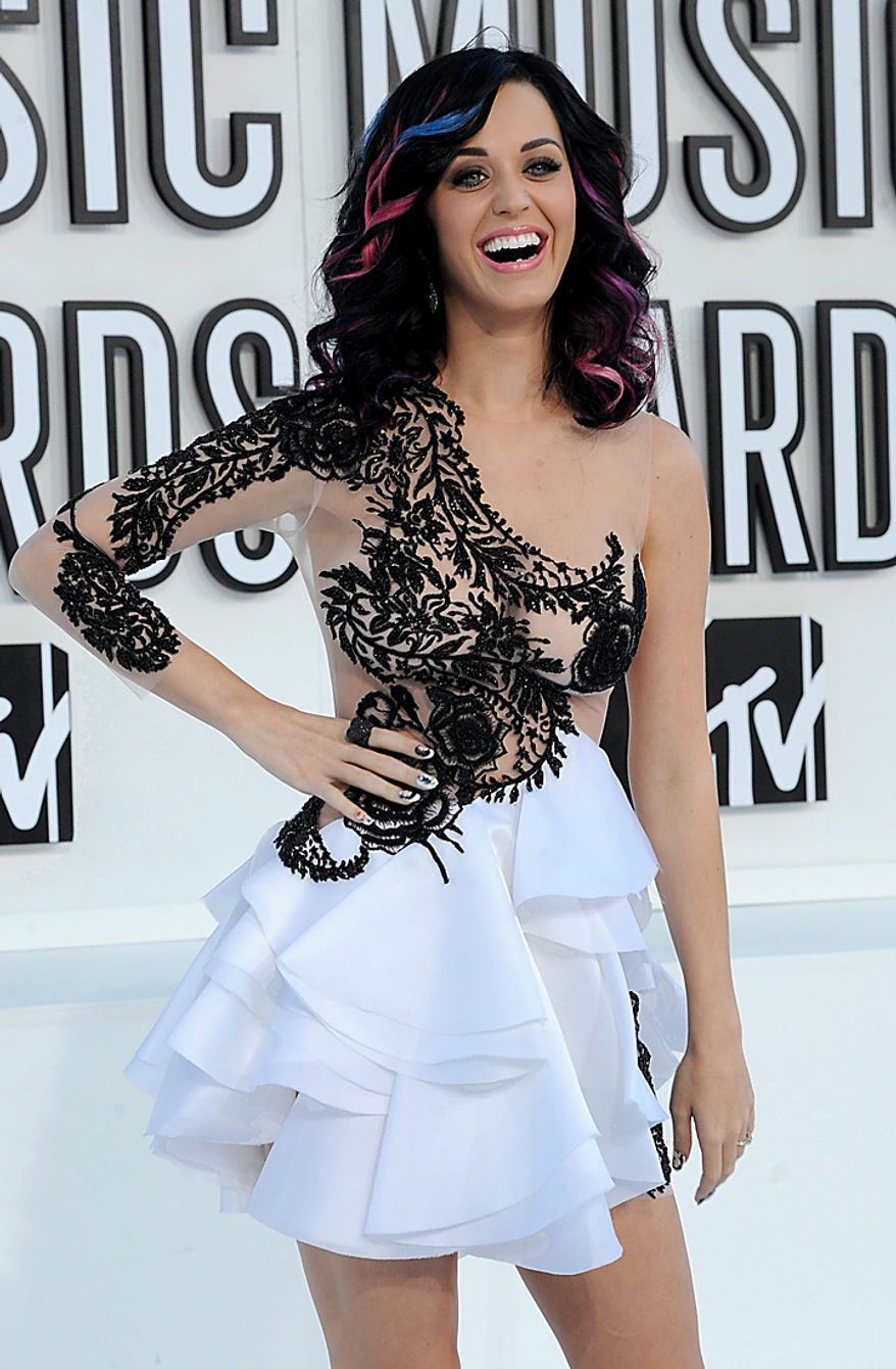 Singer Katie Perry arrives at the MTV Video Music Awards in Los Angeles on September 12, 2010 in Los Angeles.  UPI/Jim Ruymen