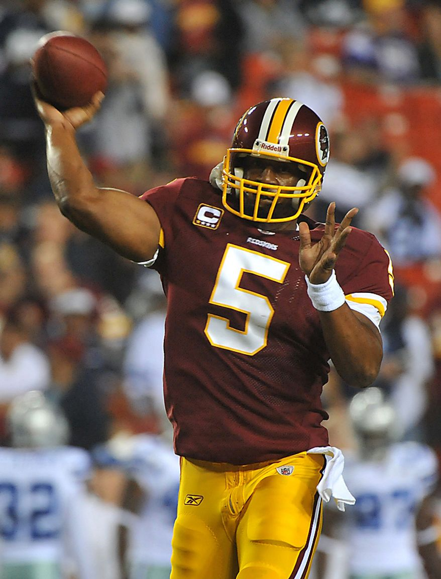 Washington Redskins quarterback Donovan McNabb prior to the Redskins game against the Dallas Cowboys at FedEx Field in Landover, Maryland on September 12, 2010.  UPI/Kevin Dietsch